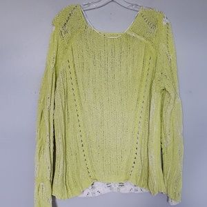"Free People Sweaters - Free People neon ""Spray"" loose knit sweater"